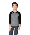 3352 Next Level Youth CVC 3/4-Sleeve Raglan Tee
